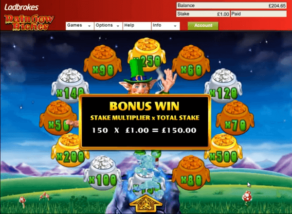 Barcrest Rainbow Riches bonus