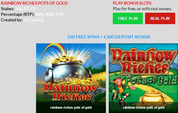 Free Bonus Slots Rainbow Riches Pots of Gold