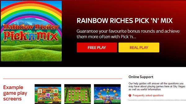 Free Demo Rainbow Riches Sky Vegas