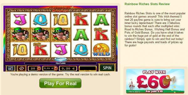 Free Online Slots Rainbow Riches Review
