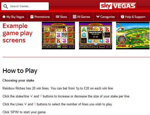 Free Rainbow Riches Sky Vegas