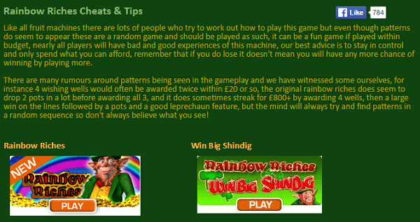 Fruit Machine Cheats Tips Rainbow Riches