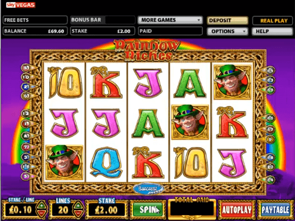Rainbow Riches big win bonus leprechauns