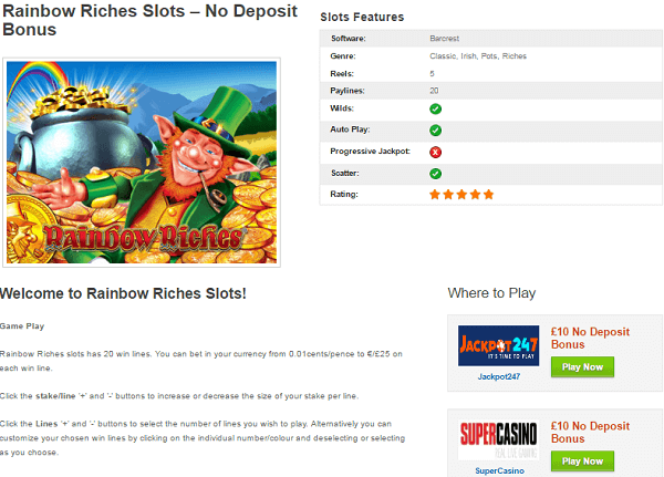 Rainbow Riches Free Bonus No Deposit