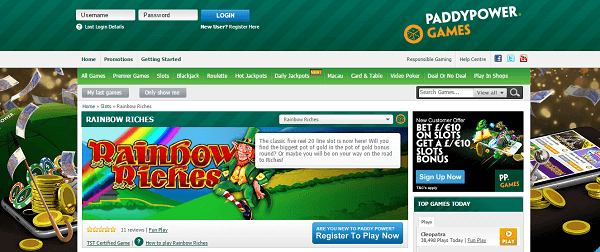 Rainbow Riches free play for fun at Paddy Power