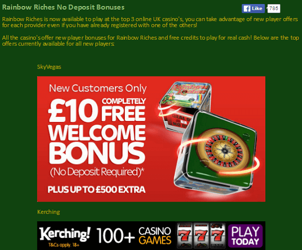 Rainbow Riches Fruit Machine Tips