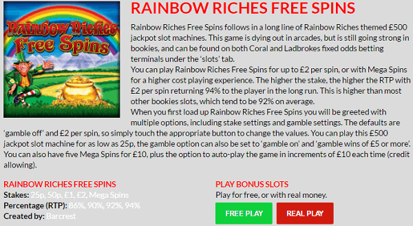 Rainbow Riches Mega Spins