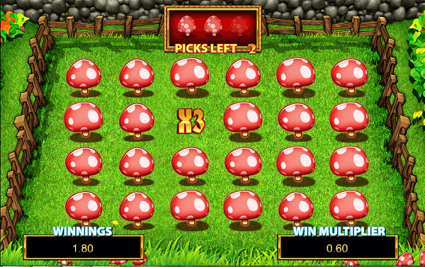 Rainbow Riches Pick n Mix toadstool bonus