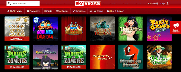 Sky vegas games free