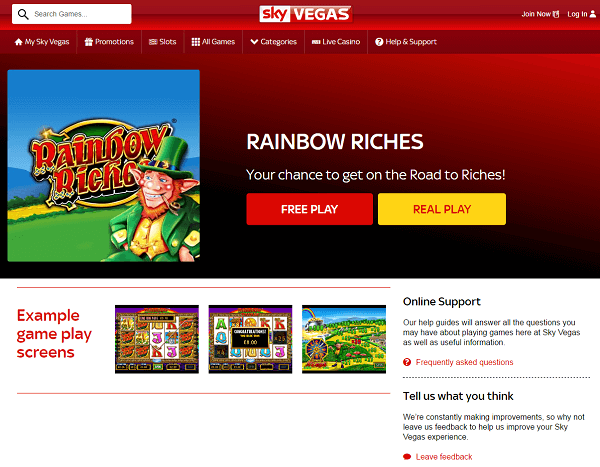 Sky Vegas Rainbow Riches Free Games