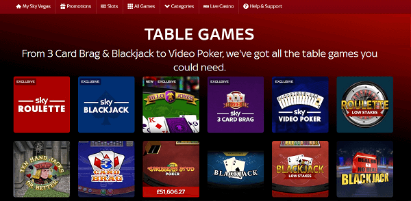 Sky Vegas table games