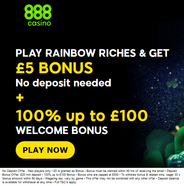 888 Casino Rainbow Riches No Deposit Bonus